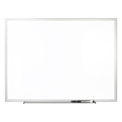 """Office Depot® Brand Non-Magnetic Melamine Dry-Erase Whiteboard With Marker,  36"""" x 48"""", Aluminum Frame With Silver Finish"""
