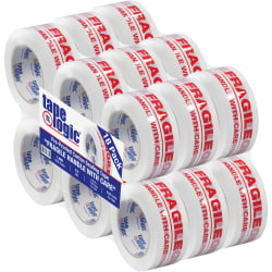 """Tape Logic® Fragile Handle With Care Preprinted Carton Sealing Tape, 3"""" Core, 2"""" x 110 Yd., Red/White, Case Of 18"""