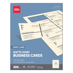 "Office Depot® Brand Matte Business Cards, 2"" x 3 1/2"", Ivory, Pack Of 300"