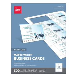 """Office Depot® Brand Matte Business Cards, 2"""" x 3 1/2"""", White, Pack Of 300"""
