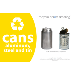 """Recycle Across America Aluminum, METAL-5585, Steel And Tin Cans Standardized Recycling Labels, 5 1/2"""" x 8 1/2"""", Yellow"""