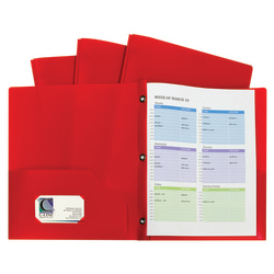 """C-Line 2-Pocket Poly Portfolio Folders With Prongs, 8-1/2"""" x 11"""", Letter Size, Red, Pack Of 10 Folders"""