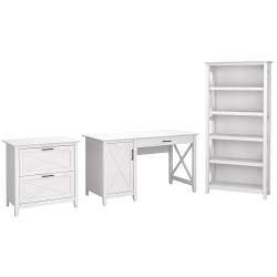 "Bush Furniture Key West 54""W Computer Desk With 2-Drawer Lateral File Cabinet And 5-Shelf Bookcase, Pure White Oak, Standard Delivery"