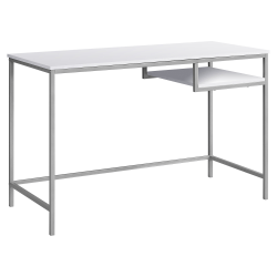 Monarch Specialties Computer Desk With Hanging Shelf, White/Silver