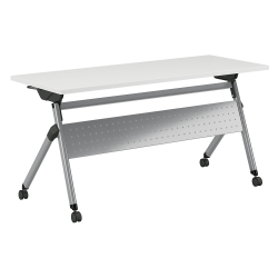 """Bush Business Furniture 60""""W x 24""""D Folding Training Table With Wheels, White/Cool Gray Metallic, Standard Delivery"""