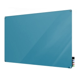 """Ghent Harmony Magnetic Glass Dry-Erase Board, 36"""" x 48"""", Blue"""