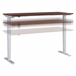 """Move 40 Series by Bush Business Furniture Height-Adjustable Standing Desk, 72"""" x 30"""", Hansen Cherry/Cool Gray Metallic, Standard Delivery"""