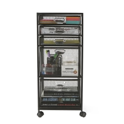 "Mind Reader 5-Drawer Rolling Mesh Office Cart, 25""H x 10-3/4""W x 13-3/4""D, Black"