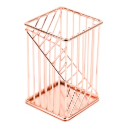 "U Brands Fashion Wire Pencil Cup, 4-3/8"" x 2-3/4"", Rose Gold"