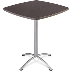 """Iceberg iLand 42""""H Square Bistro Table - Square Top - Powder Coated Silver Base - 36"""" Table Top Length x 36"""" Table Top Width x 1.13"""" Table Top Thickness - 42"""" Height - Assembly Required - Gray, Laminated, Silver - Particleboard"""