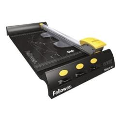 "Fellowes NeutronRotary Trimmer - 1 x Blade(s) Cuts 10Sheet - 3.4"" Height x 8.5"" Width x 19.1"" Depth - Plastic Base, Stainless Steel Blade - Black"