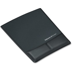 Fellowes® Professional Series Antimicrobial Wrist/Palm Support And Mouse Pad, Black, FEL9180901