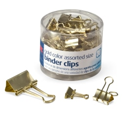 OIC® Assorted Binder Clips, Assorted Sizes, Gold, Pack Of 30