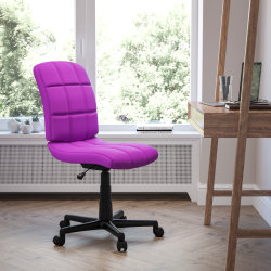 Flash Furniture Quilted Vinyl Mid-Back Swivel Task Chair, Purple/Black