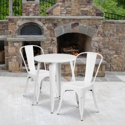 "Flash Furniture Round Metal Indoor-Outdoor Table Set With 2 Café Chairs, 29"" x 24"", White"