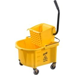 Genuine Joe Splash Guard 26-Quart Mop Bucket/Wringer Combination, Yellow/Black