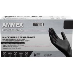 Ammex Professional Powder-Free Exam-Grade Nitrile Gloves, Small, Black, Box Of 100 Gloves