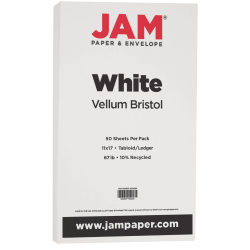 JAM Paper® Vellum Bristol Card Stock, 11 x 17, 67 Lb, White, Pack Of 50 Sheets