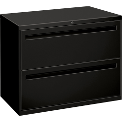 "HON® Brigade® 700 36""W Lateral 2-Drawer File Cabinet, Metal, Black"