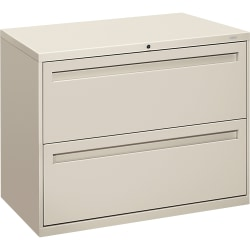 "HON® Brigade® 700 36""W Lateral 2-Drawer File Cabinet, Metal, Light Gray"
