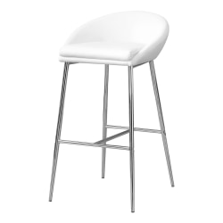 Monarch Specialties Bar Stools, White/Chrome, Set Of 2