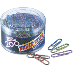 OIC® Translucent Vinyl Paper Clips, Giant, Assorted Colors, Box Of 200 Clips