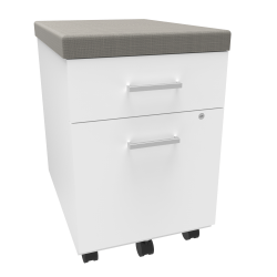 """Linea Italia, Inc 24""""D Vertical Mobile File Cabinet With Cushion, White/Gray"""