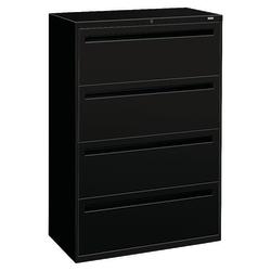 "HON® Brigade® 700 36""W Lateral 4-Drawer File Cabinet, Metal, Black"