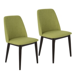 LumiSource Tintori Dining Chair, Brown Wood/Green Fabric, Set Of 2