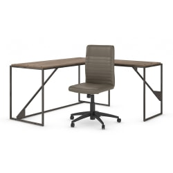 "Bush Furniture Refinery 62""W L-Shaped Desk With Mid-Back Ribbed Leather Office Chair, Rustic Gray/Charred Wood, Standard Delivery"