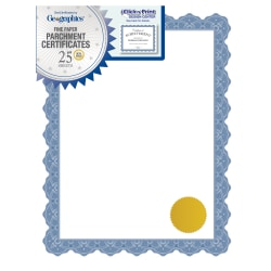 """Geographics® Certificates, 8 1/2"""" x 11"""", Employee Of The Month, Optima Blue, Pack Of 25"""