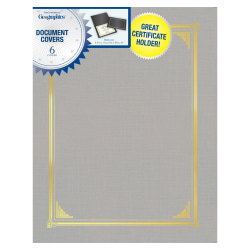 "Geographics® Document Covers, 9 1/2"" x 12 1/4"", Gray, Pack Of 6"