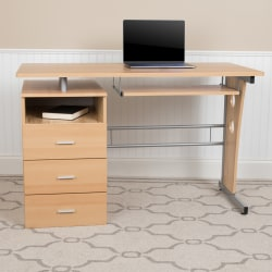 "Flash Furniture 48""W Computer Desk With 3-Drawer Single Pedestal, Maple"