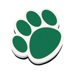 "Ashley Productions Magnetic Whiteboard Erasers, 3 3/4"", Green Paw, Pack Of 6"