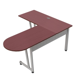 """Linea Italia, Inc L-Shaped Corner Desk, 71""""W, Cherry/Gray"""