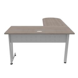 """Linea Italia, Inc L-Shaped Corner Desk, 71""""W, Ash/Gray"""