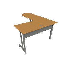 """Linea Italia, Inc L-Shaped Corner Desk, 71""""W, Maple/Gray"""