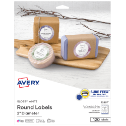 "Avery® Easy Peel® TrueBlock® Print-To-The-Edge Inkjet/Laser Labels, Round, 22807, 2"" Diameter, White, Pack Of 120"