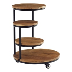 """Powell Carpio 4-Tier Plant Stand Table With Wheels, 25""""H x 20""""W x 20""""D, Black/Natural"""