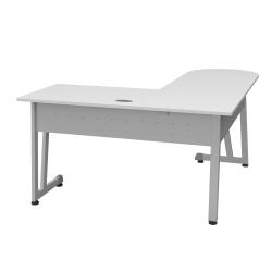 """Linea Italia, Inc L-Shaped Corner Desk, 71""""W, White/Gray"""