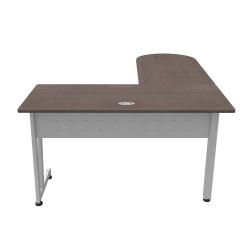 "Linea Italia, Inc L-Shaped Corner Desk, 71""W, Mocha/Gray"