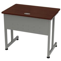 """Linea Italia, Inc. 36""""W Computer Desk, Gray/Cherry"""