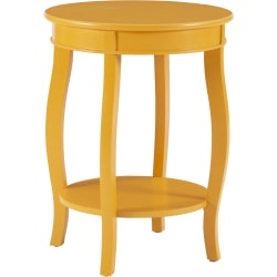 "Powell Nora Round Side Table With Shelf, 24"" x 18"", Yellow"