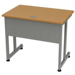 """Linea Italia, Inc. 36""""W Computer Desk, Gray/Maple"""