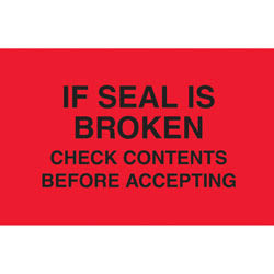 """Tape Logic® Preprinted Pallet Protection Labels, DL3171, 5"""" x 3"""", """"If Seal Is Broken Check Contents,"""" Fluorescent Red, Roll Of 500"""