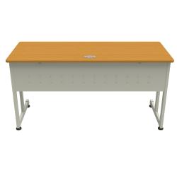 "Linea Italia, Inc. 60""W Executive Computer Desk, Gray/Maple"