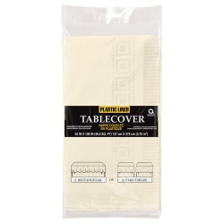 "Amscan Paper Table Covers, 54"" x 108"", Vanilla Crème, Pack Of 5 Table Covers"
