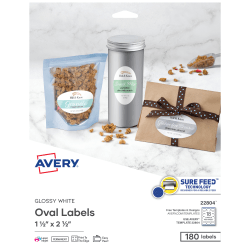 """Avery® Easy Peel® Print-To-The-Edge Permanent Inkjet/Laser Oval Labels, 22804, 1 1/2"""" x 2 1/2"""", Glossy White, Pack Of 180"""