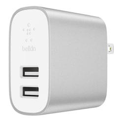 Belkin® 2-Port Home Charger With Lightning Cable, Silver, F8J230DQ04-SLV