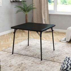 "Flash Furniture Folding Card Table, 27-3/4""H x 33-1/2""W x 33-1/2""D, Black"